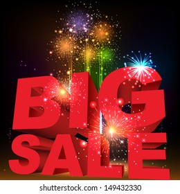 Big sale word. Salute- vector isolated on black background