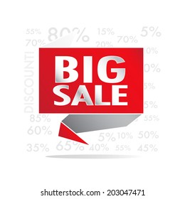 Big Sale wording on red roll paper, discount promotion, in pop art style