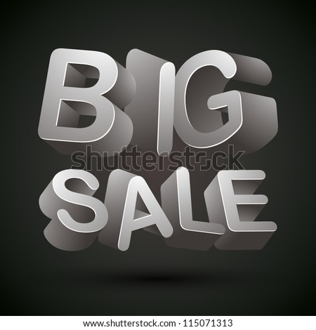 big sale words made 3 d letters stock vector (royalty free