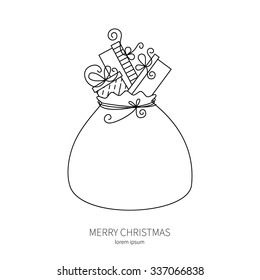 Big Santa sack full of gifts. Modern line style logo big bag with gifts.