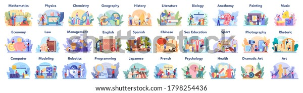 Big school subject or educational class set. Student studying social and natural science. Modern school education system. Isolated flat vector illustration