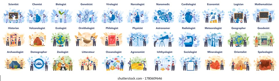 Big scientist profession concept illustration. Idea of scientific research and innovation. Study biology, chemistry, physics and other subjects at the university. Isolated flat illustration