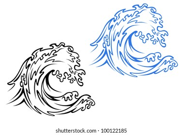 Big sea wave in black and blue variations in cartoon style. Jpeg version also available in gallery