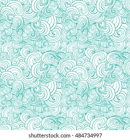 Big seamless pattern with turquoise or blue stylized curls and waves for fabric textile design, pillow or wrapping. Vector illustration