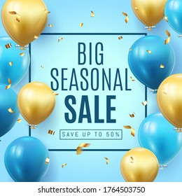 Big Seasonal Final sale text, special offer blue banner celebrate background with gold foil and blue air balloons. Realistic vector stock design for shop and sale banners, grand opening, party flyer.