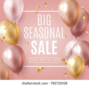 Big Seasonal Final sale text, special offer celebrate background with gold and pink air balloons. Realistic vector stock design for  shop and sale banners, grand opening, party flyer