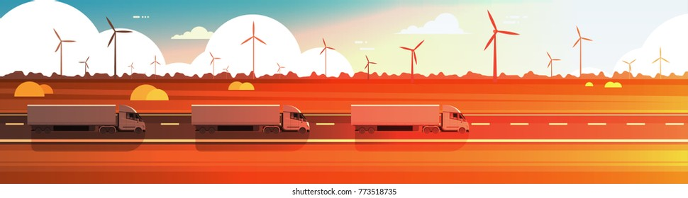 Big Semi Truck Trailers Driving Road Over Nature Sunset Landscape Horizontal Banner Vector Illustration