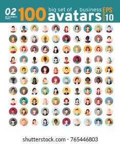 Big set 02 of 100 awesome avatars. Women and men heads in flat style. Vector illustration in the circle. Business cartoon style people.