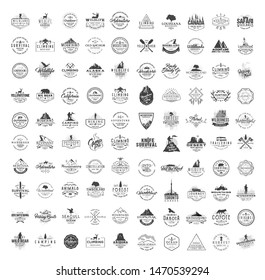 Big set of 100 premium labels on the themes of wildlife, nature, hunting, travel, wild nature, climbing, camping, life in the mountains, survival. Retro, vintage, casual design. Black collection.