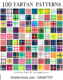 Big set of 100 tartan seamless pattern. Super colorful. Scottish traditional fabric seamless vector. Suitable for children, decoration, home, design, concept, clothing, handicraft & scrap booking.