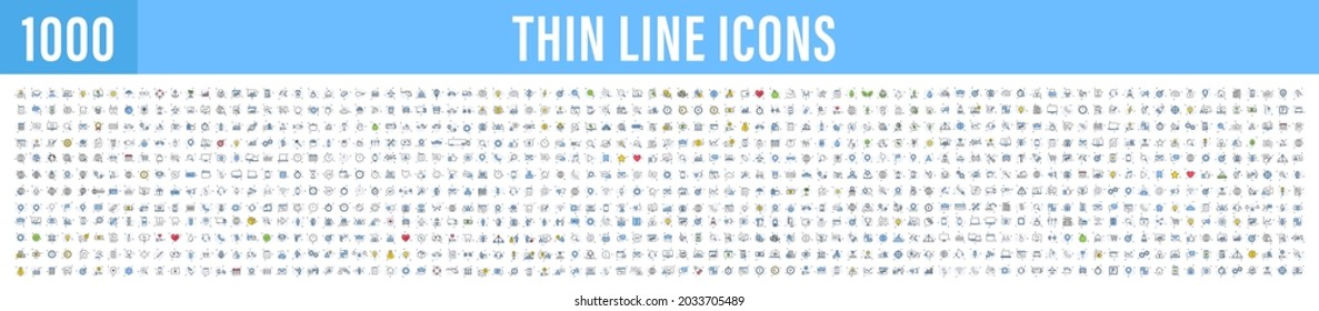 Big set of 1000 thin line Web icon. Business, finance, shopping, logistics, medical, health, people, teamwork, contact us, arrows, electronics, social media, education, management, creativity. Vector.
