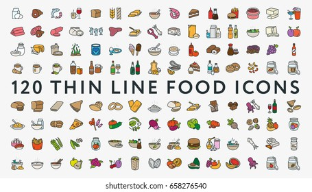 big set of 120 colored thin line stroke food icons meat milk seafood