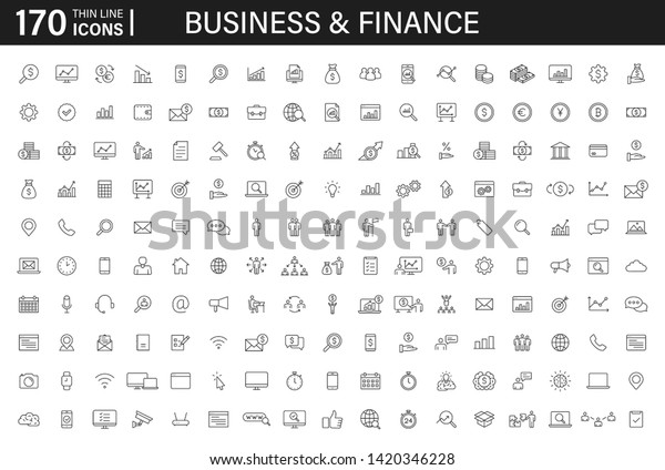 Big set of 170 Business and Finance web icons in line style. Money, bank, contact, infographic. Icon collection. Vector illustration.