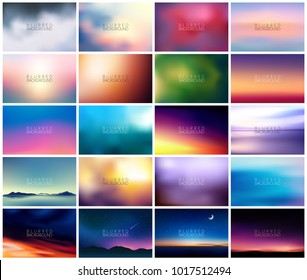 BIG set of 20 horizontal wide blurred nature backgrounds. With various quotes. Sunset and sunrise sea blurred background. Sunset Mountain Landscapes