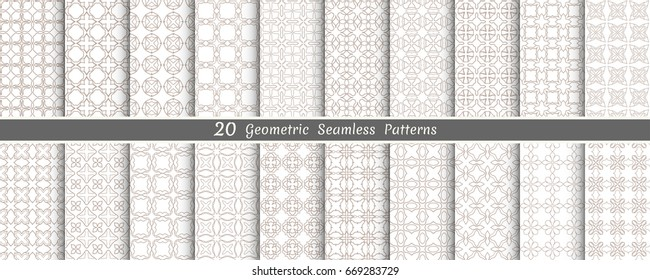 Big set of 20 oriental geometric patterns. White and golden brown background with arabic ornaments. Endless line texture for wallpaper, packaging, banners, invitation cards, textile fabric print