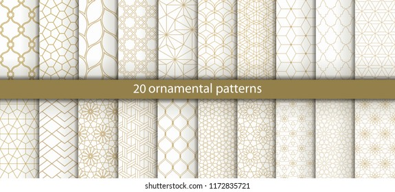 Big set of 20 oriental patterns. Gold background with Arabic ornaments. Patterns, backgrounds and wallpapers for your design. Textile ornament. Vector illustration.