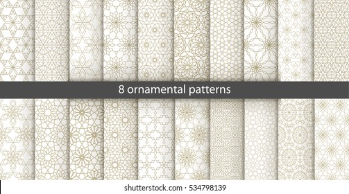 Big set of 20 oriental patterns. White and gold background with Arabic ornaments. Patterns, backgrounds and wallpapers for your design. Textile ornament. Vector illustration.