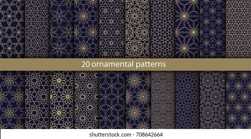 Big set of 20 oriental patterns. Blue and gold background with Arabic ornaments. Patterns, backgrounds and wallpapers for your design. Textile ornament. Vector illustration.