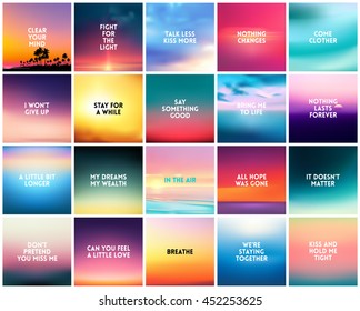 BIG set of 20 square blurred nature backgrounds. With various love quotes relationship man woman. Sunset and sunrise sea blurred background