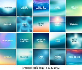 BIG set of 20 square blurred nature turquoise backgrounds. With various quotes. Sunset and sunrise sea sky blurred blue background