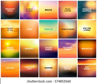 BIG set of 20 square blurred nature golden orange yellow red backgrounds. With various quotes. Sunset and sunrise sunset sky blurred orange yellow background