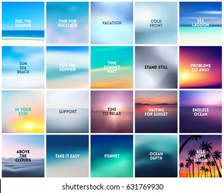 BIG set of 20 square blurred nature backgrounds. With various quotes. Sunset and sunrise sea blurred background