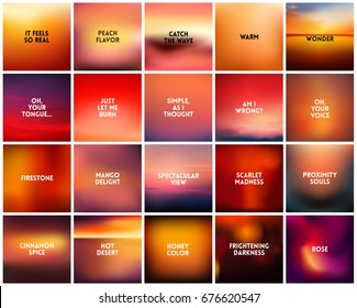 BIG set of 20 square blurred nature orange red backgrounds. With various quotes. Sunset and sunrise orange yellow red background abstract