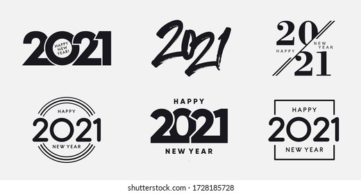 Big Set of 2021 Happy New Year logo text design. 2021 number design template. Collection of 2021 happy new year symbols. Vector illustration with black labels isolated on white background.