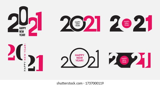 Big Set of 2021 Happy New Year logo text design. 2021 number design template. Collection of 2021 happy new year symbols. Vector illustration with black and pink labels isolated on white background.