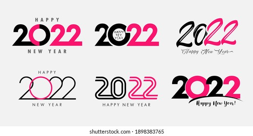 Big Set of 2022 Happy New Year gold colored logo text design. 20 and 22 number design template. Collection of 2022 Xmas symbols. Vector illustration with black labels isolated on white background