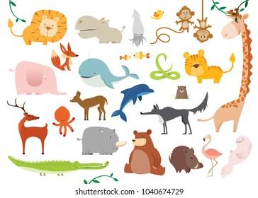 Big set of 24 Vector illustrations of really cute cartoon Wild Animals
