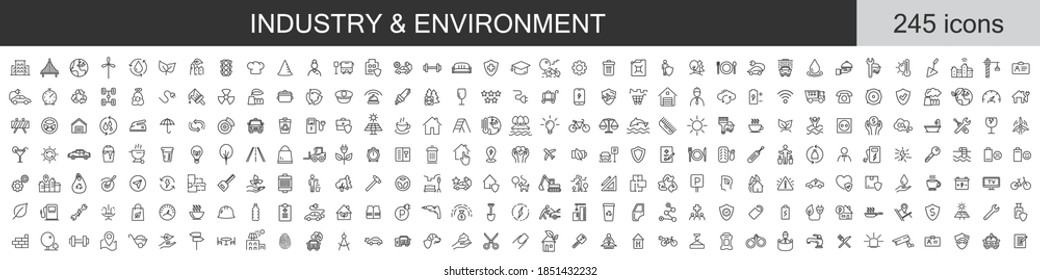 Big set of 245 Industry and Environment icons. Thin line icons collection. Vector illustration - Shutterstock ID 1851432232