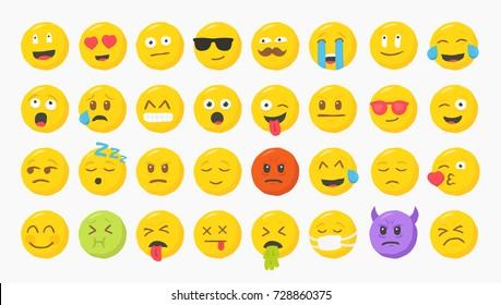 Big Set of 32 Yellow Modern Flat Vector Cartoonish Emoticons Emoji Faces Characters. Rough Hand Drawn Style Illustration.