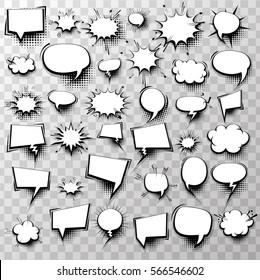 Big set 36 blank effects template comic speech bubbles halftone dot background style pop art. Comic dialog empty cloud, space text. Creative idea conversation comics book sketch explosion.