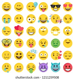 Big Set of 36 high quality vector cartoonish emoticons, in flat design style