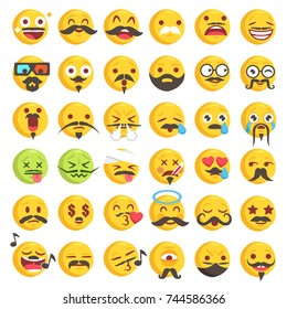 Big Set of 36 high quality vector cartoonish emoticons, in rough hand-drawn design style all with funny beard or Moustache styles