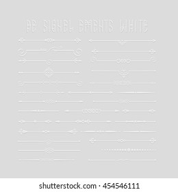 Big Set of 3d Calligraphic Design Elements and Page Decor. Isolated On Grey Background. Vector collection of Divider for web design