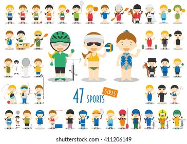 Big Set of 47 cute cartoon sport characters for kids. Funny cartoon girls.