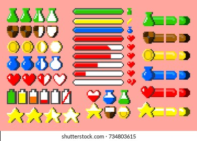 Big set of 8-bit elements, life bar, progressor, stamina, power, energy, mana level, money reserve vector illustrations. Retro, 8-bit style, pixel elements for nerd and classical game themed designs.