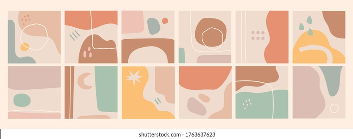 Big Set of Abstract backgrounds. Hand drawn doodle various shapes, lines, spots, drops, curves. Contemporary modern trendy Vector illustrations. Every background is isolated. Patterns, Wallpapers