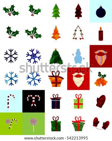 big set abstract christmas logos design template vector illustration - Christmas Logos