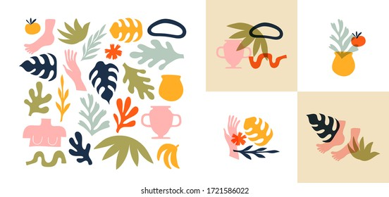 Big set of abstract organic nature shapes and exotic tropical decoration in trendy matisse inspired art style. Modern summer doodle icons on isolated white background with premade designs.