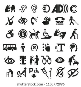 Big set of accessibility icons with different sign.