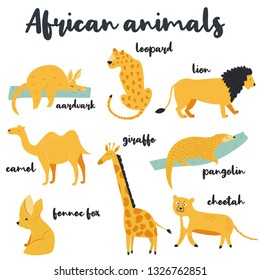 Big set of african animals on white background. Aardvark, cheetah, lion, leopard, camel, pangolin, giraffe, fennec