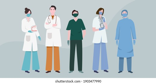 Big set of all doctor character with various activities