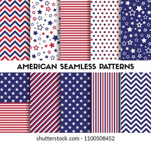 Big set of american style vector seamless patterns. Stars, stripes, chevron
