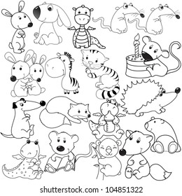 big set of animals contours, coloring book