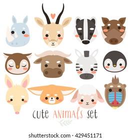 big set of animals on white background. cute zebra, sheep, badger, penguin, fennec fox, owl, gazelle, african buffalo, warthog, mandrill, aardvark, rhino. Can be used like sticker or for cards