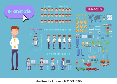 Big set for animating business advertising. Young businessman in a shirt stands in a pensive posture. On a blue background
