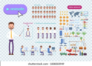 Big set for animation business advertising. Businessman in a shirt with a beard and mustache holds a pointer in his hands and explains. On a transparent background